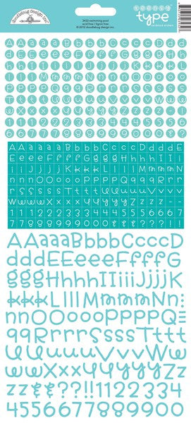 Doodlebug Teensy Type Alphabet Stickers - Swimming Pool