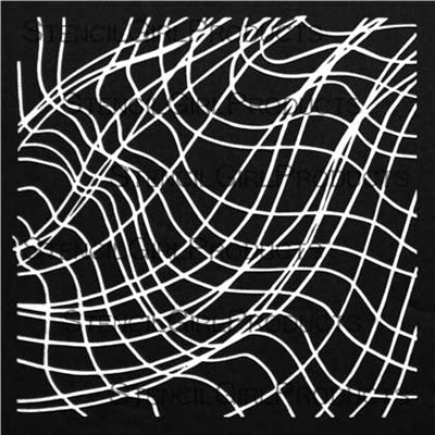 StencilGirl 6x6 Stencil - Swooping Crossed Line Waves
