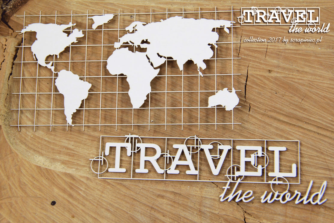 Scrapiniec Chipboard - 4739 Travel the World Map Eng