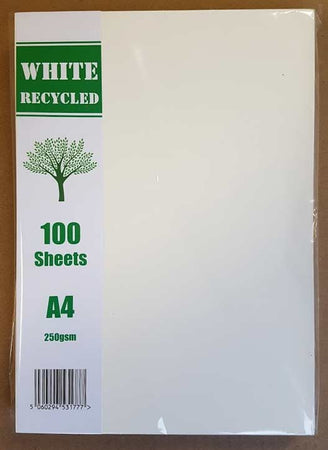 Craft UK White Recycled A4 Card 100 Pack