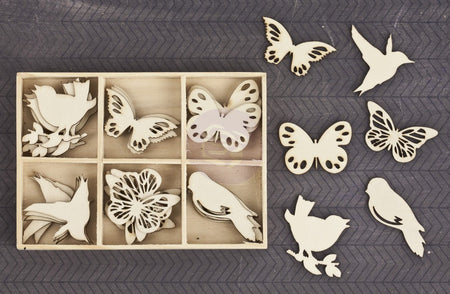 Prima Wood Icons in a Box - Birds & Butterflies