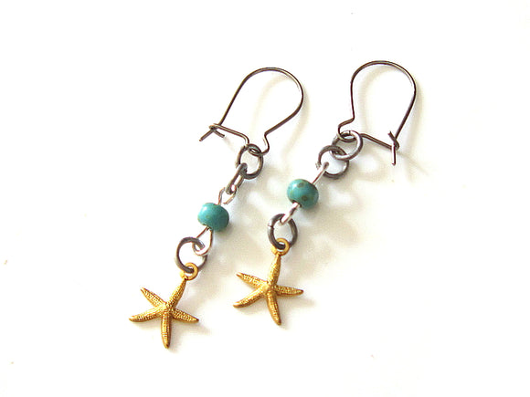 Aquamarine Starfish Earrings
