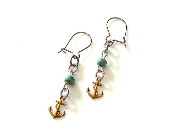 Aquamarine Anchor Earrings