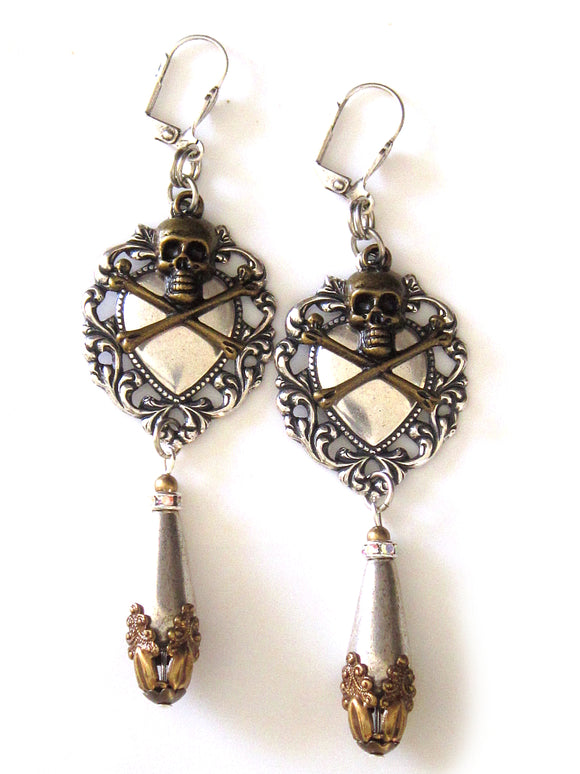 Silver Skull And Crossbones Earrings