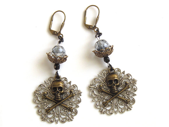Silver And Brass Pirate Earrings