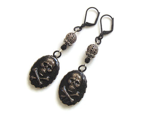 Black And Silver Pirate Earrings