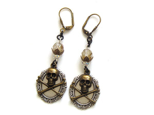 Silver Pirate Skull Earrings
