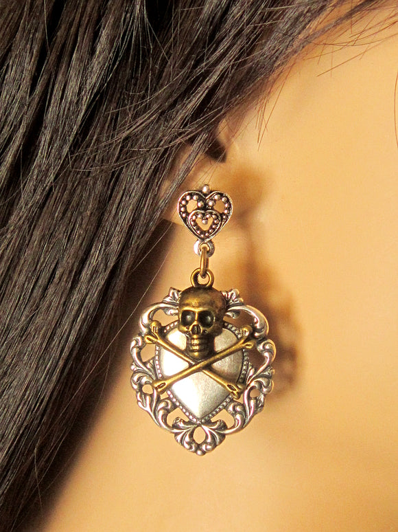 Pirate Skull Heart Earrings