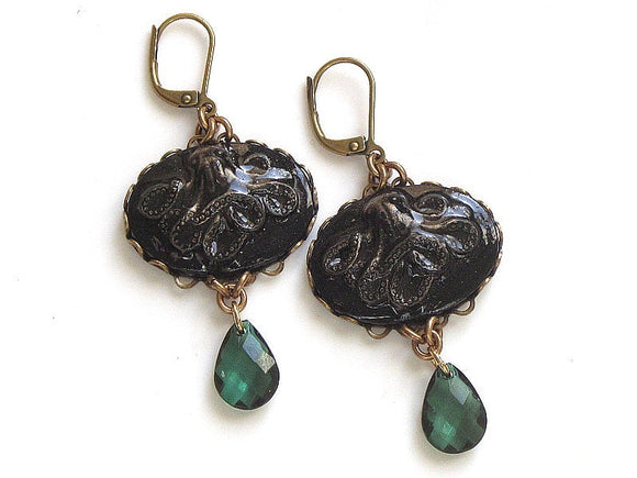 black and emerald green octopus earrings