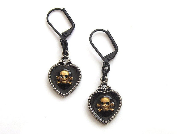 black silver gold pirate earrings for women