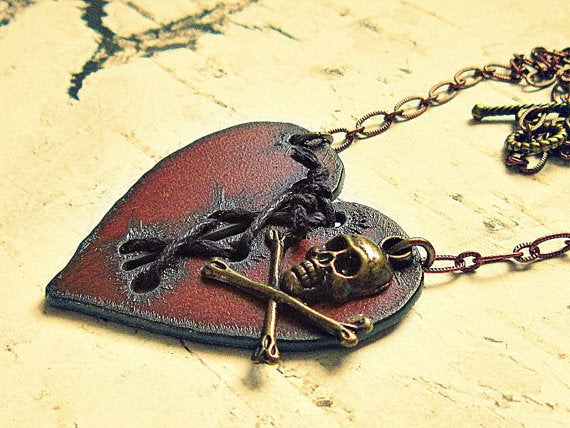 Broken Mended Heart Pirate Necklace
