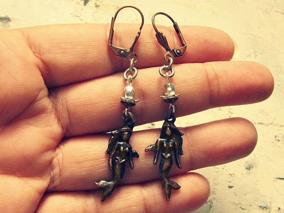 brown mermaid earrings