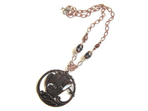 brown pirate ship necklace