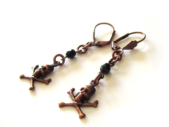 copper and black pirate earrings