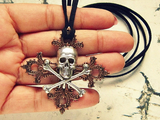 Antiqued Skull And Crossbones Necklace