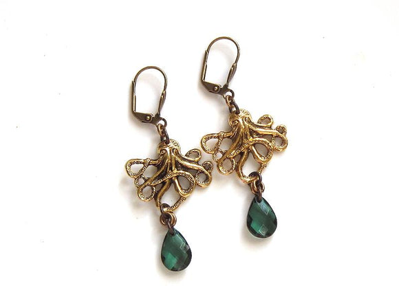gold octopus earrings