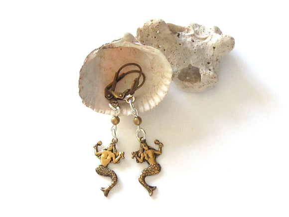 gold tone mermaid earrings