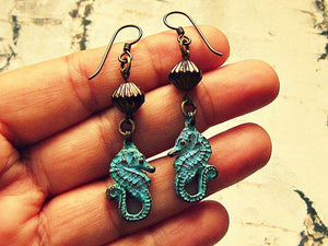 Seahorse Earrings With Patina