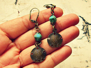 Aquamarine Sand Dollar Earrings
