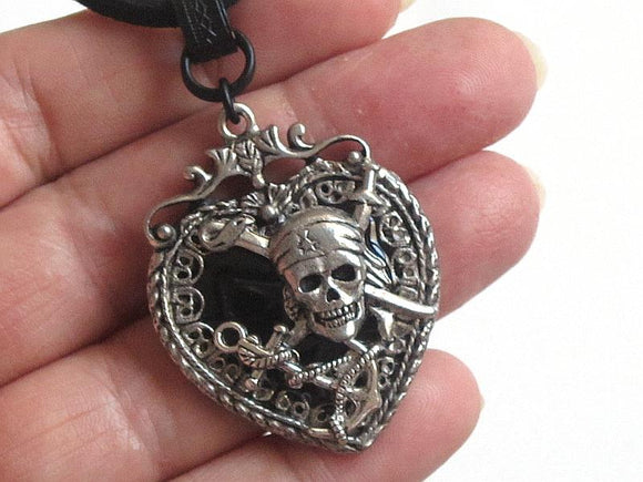 silver black pirate anchor necklace