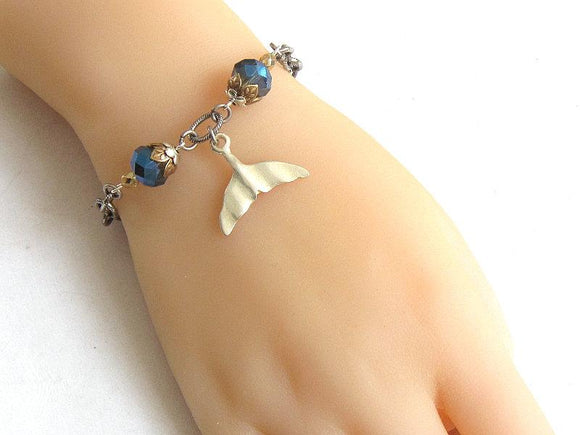 silver blue gold whale tail bracelet