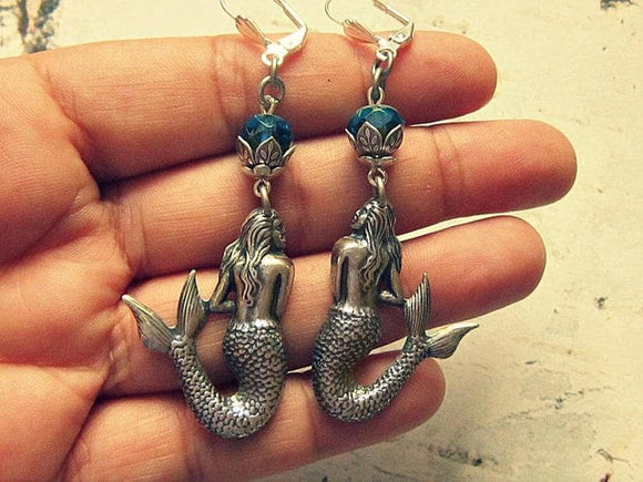 silver mermaid earrings