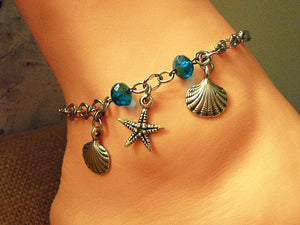 silver starfish ankle bracelet