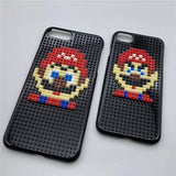 Retro phone case for iPhone 7 6 6S Plus Pixels Style Bricks Super Marios + Pokemon, many pattern choices!