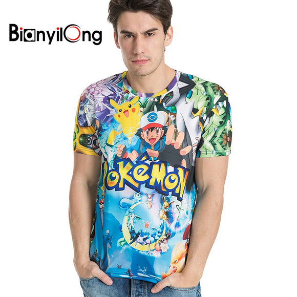 Super colorful pokemon printed comfortable t-shirt