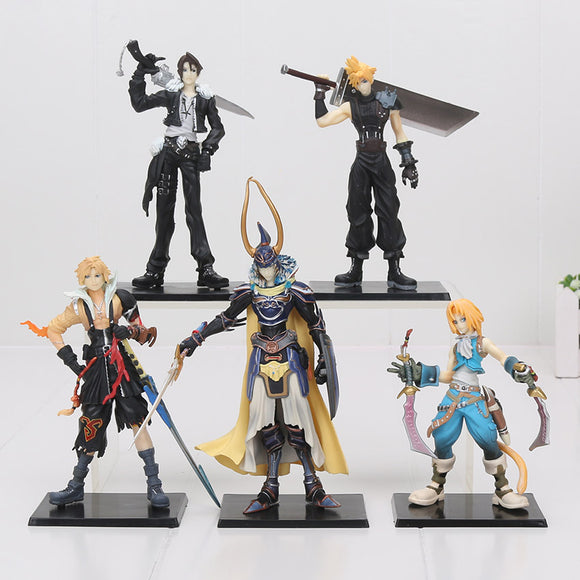 Set of 5 Final Fantasy PVC Figures 11-18cm Collectible Model's Cloud Strife Squall Leonhart Tidus Warrior of Light Zack Fair
