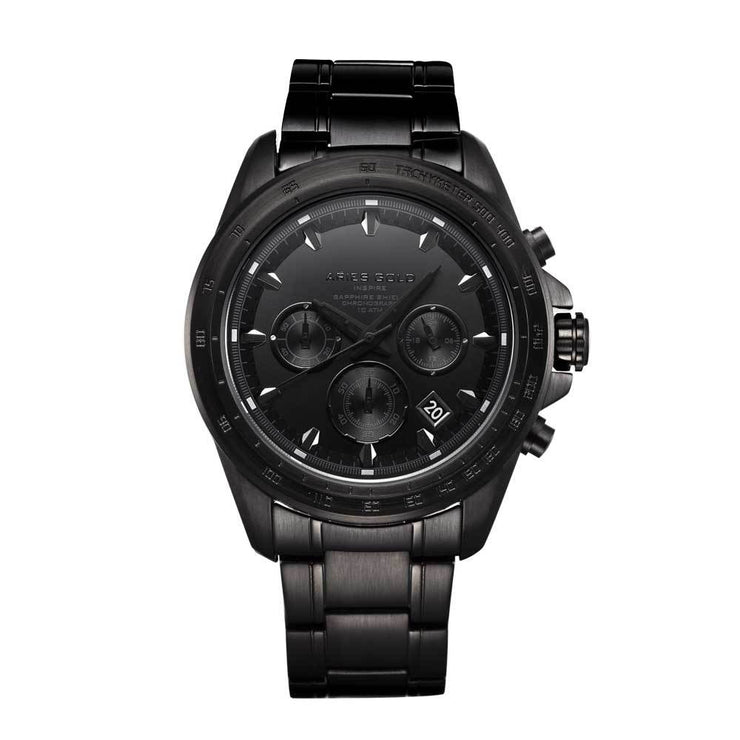 Aries Gold Men Chronograph Date Full Black Watch G 7001 BK OUT
