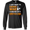Image of Drink Wine Pet Greyhound T shirt