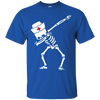 Image of Dabbing skeleton Nurse Halloween Heather T shirt