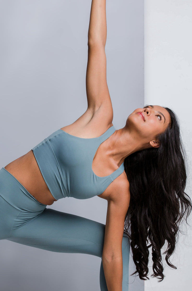 POWER LONGLINE SPORTS BRA - MUTED TEAL