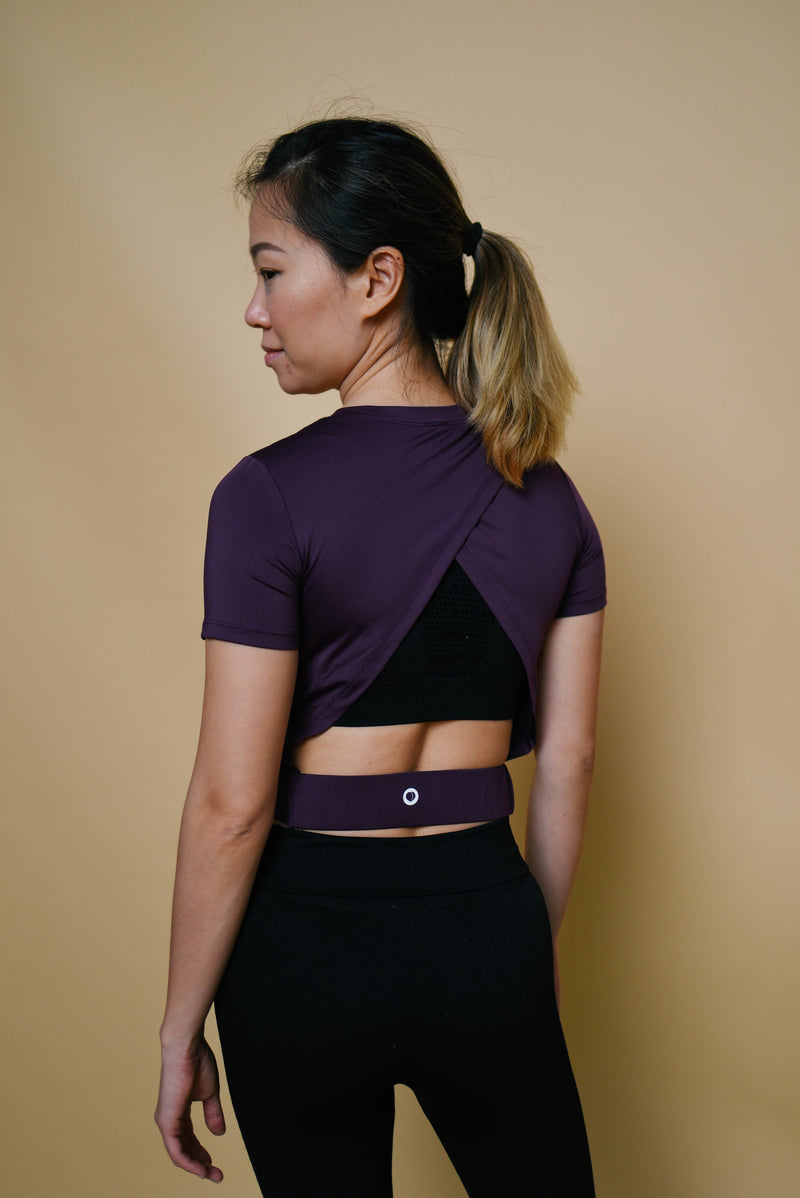 DELTA CROP TOP - AUBERGINE