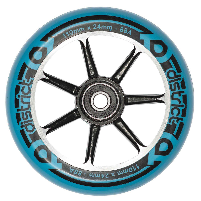 District Scooters Wheels Cast Alloy Core Twin Pack - 110mm Black/Blue Stunt Scooter District