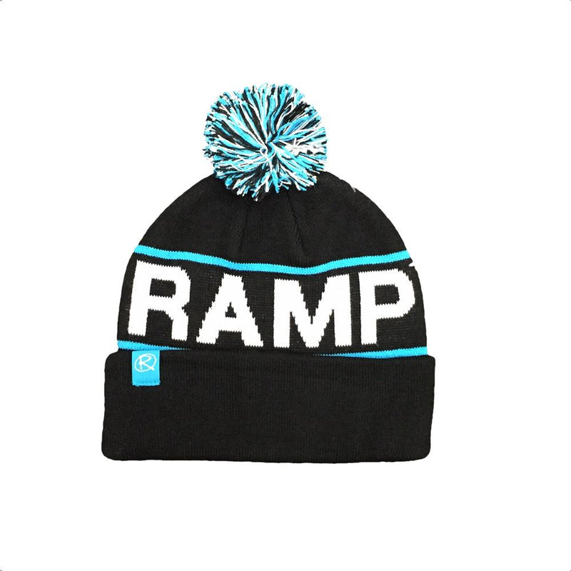 Rampworx Skatepark Bobble Hat, Black/Blue Clothing Rampworx