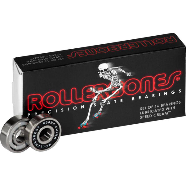 Rollerbones Precision Skate Bearings 16 Pack, Black
