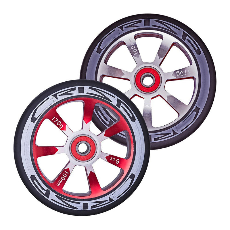 Crisp Scooters Hollowtech 100mm Stunt Scooter Wheels, Black/Red Stunt Scooter Crisp