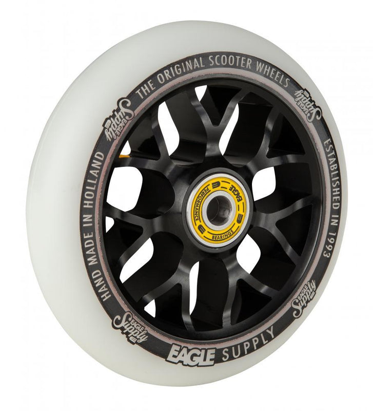 Eagle Supply 110mm Pro Stunt Scooter Wheel, Standard X6 Core - Black/White Stunt Scooter Eagle Supply Co