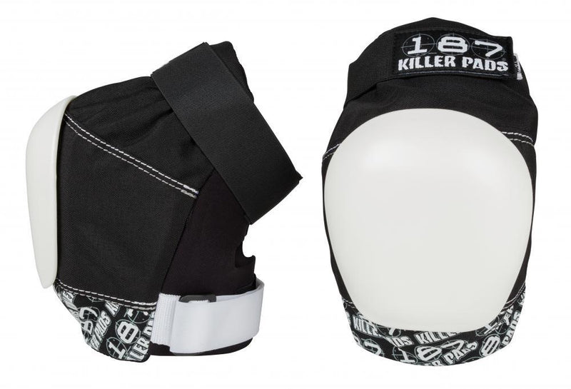 187 Killer Pads Pro Knee Pads, Black/White Protection 187