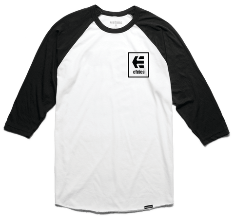 Etnies Raglan Stack Box Tshirt, Black/White