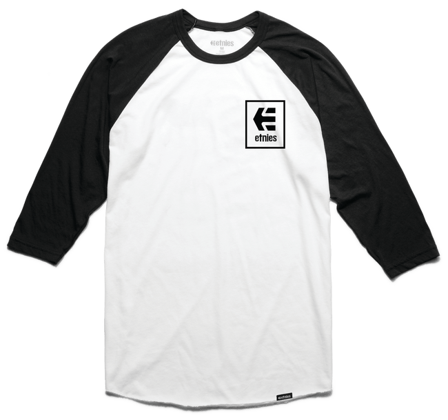 Etnies Raglan Stack Box Tshirt, Black/White Clothing Etnies XX Large