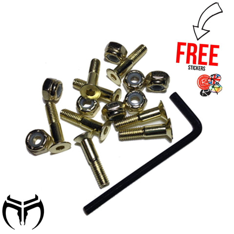 "Muckefuck Skateboards 8x Hardware Bolts 7/8"", Gold/Gold + Free Allen Key"