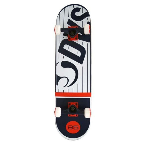 "DVS Pinstripe Complete Skateboard 8"", White/Red/Blue"