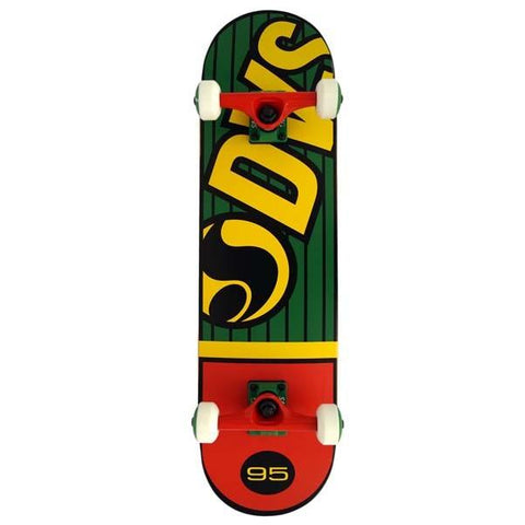 "DVS Pinstripe Complete Skateboard 8"", Green/Yellow/Red"