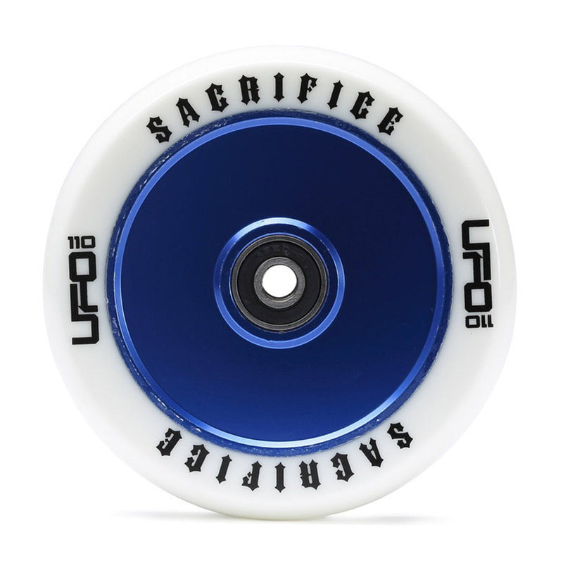Sacrifice Scooters UFO 110mm Stunt Scooter Wheel, White/Blue Stunt Scooter Sacrifice