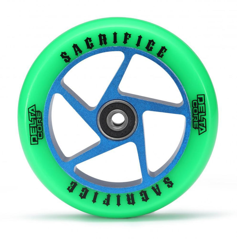Sacrifice Scooter Wheel Delta Core 110mm, Green/Blue Stunt Scooter Sacrifice
