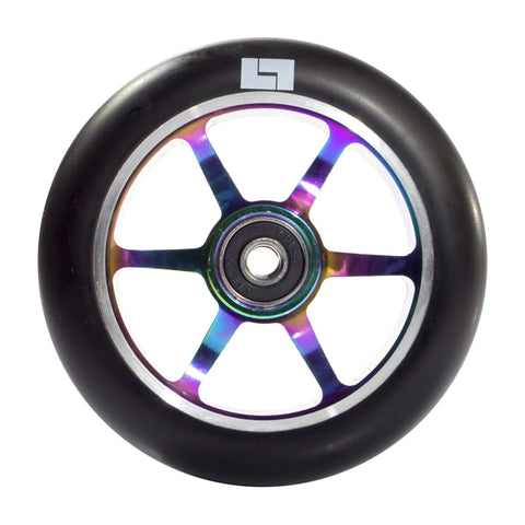Logix Scooters 6 Spoke Stunt Scooter Wheel, Black/Oil Slick