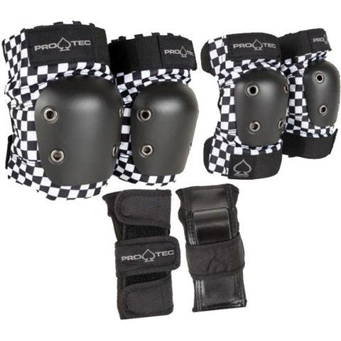 Pro-Tec Street Youth Junior Pad Set, Black/White